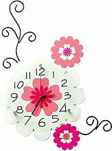 AIZIJI Blume Wohnzimmer kreative Wanduhr Dekoration mute Schlafzimmer Uhren pastorale Persönlichkeit Uhr Karikatur Uhr Quarzuhr
