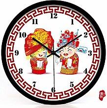 AIZIJI Classic Zimmer sind gut mit chinesischen Stil Hochzeit kreative Uhren Paare gehärtetes Glas Wanduhr Mute/30 cm Quarzuhr eingerichte