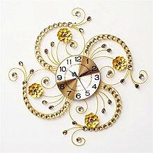 AIZIJI Clock Blumen Typ Quartz Clock Tisch Wohnzimmer kreativ modern minimalistische Dekoration Mute Clock 60 x 60 cm