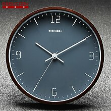 AIZIJI Clock Retro China Wind hölzern Mauer Clock Home Clock stumm Uhren