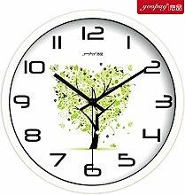 AIZIJI Frische Blumen Garten Zimmer kreative Uhren der Schlafzimmer sind in sehr zum Schweigen gebracht, herzförmigen Wanduhr modern, 25 cm Quarzuhr eingerichte