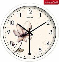 AIZIJI Frische Blumen Garten Zimmer kreative Uhren von den Schlafzimmern auf mute Wanduhr modern eingerichtet sind, 35 cm Quarzuhr