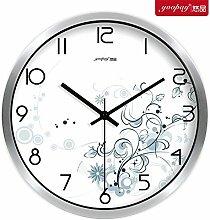 AIZIJI Frische Blumen Garten Zimmer kreative Uhren von den Schlafzimmern auf mute Wanduhr modern eingerichtet sind, 25 cm Quarzuhr