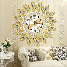 AIZIJI Golden Sun Peacock Wohnzimmer Wanduhr Modern Creative Uhren mute Persönlichkeit clock Quarzuhr Dekoration 62cm