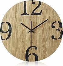 AIZIJI Großes Wohnzimmer Wanduhr Protokolle Stummschaltung einfache Holz Garten Wand - clock Kreativ, 35 cm Uhren