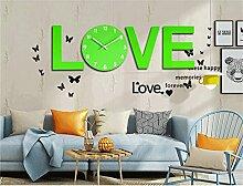 AIZIJI Grüne Liebe kreative moderne einfache feste Holz Schlafzimmer hängende Tisch Kunst Uhr stumm Persönlichkeit Dekoration Wohnzimmer Wanduhr / 150x30cm
