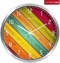 AIZIJI Kreative Farbe mit Holzmaserung Wohnzimmer Uhren von den Schlafzimmern auf mute Wanduhr moderne Trends eingerichtet sind, 35 cm Quarzuhr