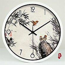 AIZIJI Kunst Uhren Vogel Garten Uhren Quarzuhren mute Wanduhr Wohnzimmer Schautafel, 35 cm Creative