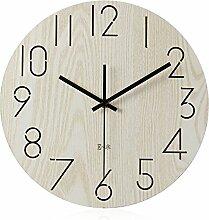 AIZIJI Maximale Anzahl an Protokollen Wohnzimmer Wanduhr Stummschaltung einfache Holz Garten stilvolle Wanduhr, 30 cm Wecker