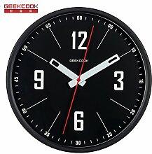 AIZIJI modernes einfaches Wohnzimmer Quartz Clock Tisch stumm Metall Runde Elektronik Clock Creative Wand 30 cm