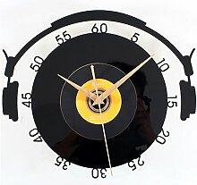 AIZIJI Musik Disc Wall Clock Fashion Creative Retro Kunst Wand stumm Clock Tisch, 30 cm