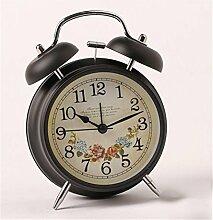 AIZIJI Retro Metall Garten Nachttisch Glocken Wecker Faul Oversize Ton Stummschalten, Wenn Sie Wandern, 4 Zoll Schwarz Blume