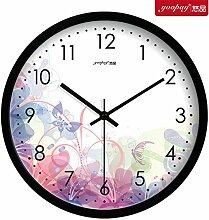 AIZIJI Rosa kreative Frische Blumen Garten Lounge Uhren von den Schlafzimmern auf mute Wanduhr modern eingerichtet sind, 25 cm Quarzuhr