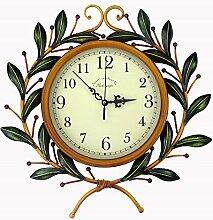 AIZIJI Uhren Bügeleisen retro Wanduhr creative Wohnzimmer Olivenzweige Uhren