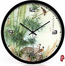 AIZIJI Vogel und Blume Garten Uhren Quarzuhr mute Schlafzimmer Wohnzimmer Wanduhr Kunst idyllisch, 20 cm Uhren