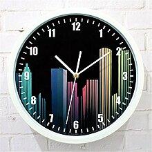 AIZIJI Wall Clock City Night Fashion Farbe Kunst Creative Mute Clock Tisch, 30 cm