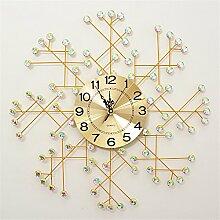 AIZIJI Wall Clock modern Inlay Bohren Mauer Pastoral Dekoration kreativ Individualität Mute Clock 70 cm