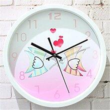 AIZIJI Wall Clock Romantic Sweet Fashion Creative minimalistischen Garten Clock, 30 cm