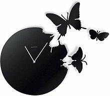 AIZIJI Wall Clock Schmetterling Flying Pastoral Artist verziert Metope Hintergrund Wand Uhren Tisch, 30 cm