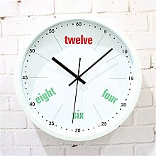AIZIJI Wall Clock Simple Creative Fashion Englisch Mute Quartz Clock Wohnzimmer Schlafzimmer Wand Dekoration Clock, 30 cm