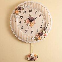AIZIJI Wanduhr Harz lounge Creative continental Wecker stumm Uhren stilvollen Garten Wanduhr 16 cm runde Uhr, gold