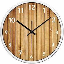 AIZIJI Wanduhr hellbraun Bambus Adern kreatives Wohnzimmer stumm einfach Quarz Uhr Individualität Dekoration Kunst Uhr Wand, 35cm