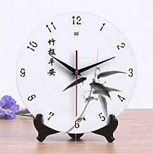 AIZIJI Wanduhr Keramik Creative Uhr Wohnzimmer super leise chinesische Uhr, 25cm