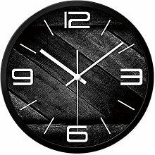 AIZIJI Wanduhr schwarz Holz Korn kreatives Wohnzimmer stumm Mode einfach Quarz Uhr Persönlichkeit Dekoration Uhr Wand, 30cm