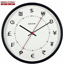 AIZIJI Zeit Geld Metall Uhr Tisch Wohnzimmer Büro Mauer Uhr Persönlichkeit Mauer Clock Zimmer stumm Clock 30 cm