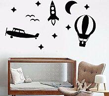 Ajcwhml Ballon Rakete Flugzeug Vinyl Wandtattoo