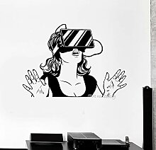 Ajcwhml Coole Mädchen Vinyl Wandaufkleber Virtual