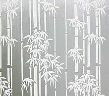 Ajusen Selbstklebend Ohne Klebstoff Fensterfolie Sichtschutzfolie Fenster Film Sticker Anti-UV Milchglasfolie Weißer Bambus 45cm x 5m