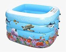 AJZGF Kind aufblasbare Badewanne aufblasbares aufblasbares Pool größeres Pool zusammenklappbares Ozean-Pool-Pool-Swimmingpool-Wasser-Spielplatz Badewanne ( Farbe : Foot pump )