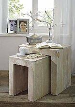 Akazie Massivmöbel Beistelltisch massiv Holz Möbel Nature White #12