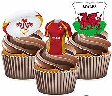 AKGifts Cupcake-Dekoration / -Aufsatz, Motive: Trikot, Ball und Flagge des Rugbyteams von Wales, essbar, 12Stück