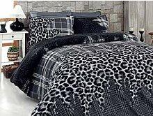 Akhome Bettwäsche Bettgarnitur Leopard Schwarz 6