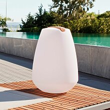 Akku LED-Dekolampe Vessel 2 mit Holzgriff &
