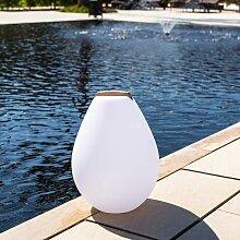 Akku LED-Dekolampe Vessel S mit Holzgriff &