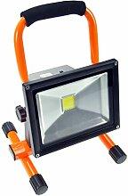 Akku-LED-Leuchte 20W, 1600lm, Lichttemperatur 6000K, portabel, wiederaufladbar, orange-schwarz