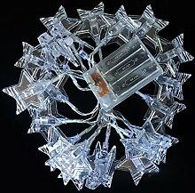 Akkus versorgt Pentagram Light String, 1.5/3.0/4.5Meter 10/20/30LED, für die Dekoration von Garten im Freien Home Decor Foto Clips Fotos Pegs beleuchtet Innen Geschenke 1.5 m weiß