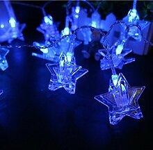 Akkus versorgt Pentagram Light String, 1.5/3.0/4.5Meter 10/20/30LED, für die Dekoration von Garten im Freien Home Decor Foto Clips Fotos Pegs beleuchtet Innen Geschenke 3 m blau