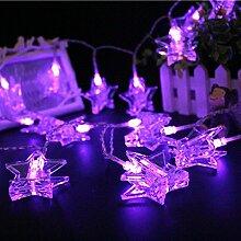 Akkus versorgt Pentagram Light String, 1.5/3.0/4.5Meter 10/20/30LED, für die Dekoration von Garten im Freien Home Decor Foto Clips Fotos Pegs beleuchtet Innen Geschenke 4.5m viole