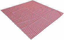 AKOR Textil Tischdecke Züchenkaro im Landhausstil (130 x 280 cm, weiß-rot)