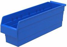 Akro-Mils 30864 ShelfMax 8 Kunststoff-Mülleimer, stapelbar, 24 cm x 6 cm x 8 cm, Blau, 10 Stück