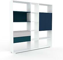 Aktenregal Blau - Büroregal: Schubladen in