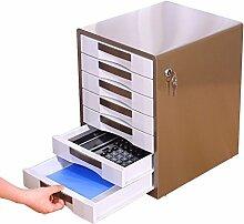 Aktenschränke Metallschrank 7-Lagig Bürobedarf mit Schloss Schubladenart Aufbewahrungsbox A4 Aktenbox Desktop Mode UOMUN (Farbe : Braun)