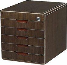 Aktenschrank Bürobedarf Woody Desktop Aufbewahrungsbox Schublade mit Schloss Aktenschränke Xuan - worth having ( Farbe : 5 layers )