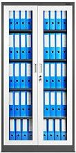 Aktenschrank C012 Flügeltür aus Glas Medizinschrank Metallschrank Büroschrank Universalschrank Flügeltürschrank Stahlschrank Lagerschrank Dokumentenschrank Ordnerschrank Ideal für Büro Verschließbar (anthrazit/weiß)