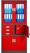 Aktenschrank C018S Büroschrank Metallschrank Tresor Safe Geheimfach Flügeltüren Schubladen Pulverbeschichtung Stahlblech 185 cm x 90 cm x 40 cm (H x B x T) (anthrazit/rot)