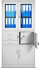 Aktenschrank C18S Büroschrank Tresor Safe Aktentresor Dokumententresor Geldschrank Schranksafe Metallschrank mit Flügeltüren aus Glas
